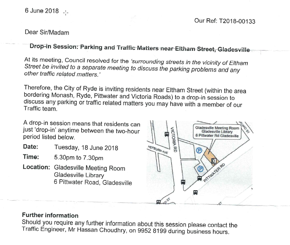 Eltham Street area parking and traffic management drop in session