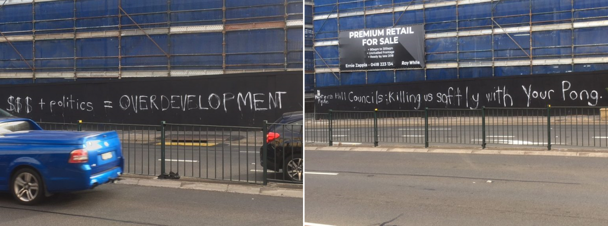 Answer to good Question + Ryde Council response to NSW Government's new planning controls + Graffiti on hoardings